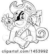 Clipart Of A Black And White Lineart Sitting Monkey Pirate With A Parrot Royalty Free Vector Illustration