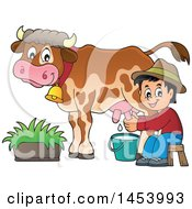 Clipart Of A Happy Farmer Boy Milking A Cow Royalty Free Vector Illustration by visekart