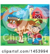 Clipart Of A Happy Farmer Boy Milking A Cow In A Barnyard Royalty Free Vector Illustration by visekart