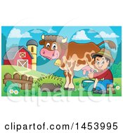 Happy Farmer Boy Milking A Cow In A Barnyard