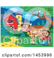 Clipart Of A Happy Farmer Boy Milking A Cow In A Barnyard Royalty Free Vector Illustration