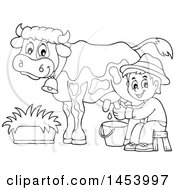 Black And White Lineart Happy Farmer Boy Milking A Cow