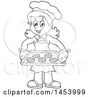 Black And White Lineart Happy Woman Baking Chocolate Chip Cookies