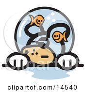 Grumpy Dog With Fish Making Fun Of Him In A Fishbowl Stuck On His Head