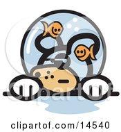 Grumpy Dog With Fish Making Fun Of Him In A Fishbowl Stuck On His Head
