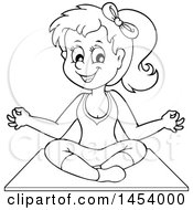 Clipart Of A Black And White Lineart Yoga Woman In A Lotus Pose Royalty Free Vector Illustration by visekart