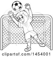 Clipart Of A Black And White Lineart Soccer Goalie Boy Blocking A Ball In Front Of A Goal Royalty Free Vector Illustration