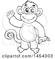 Black And White Lineart Happy Monkey Waving And Holding A Banana