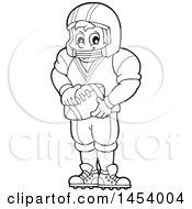 Clipart Of A Black And White Lineart Male American Football Player Holding A Ball Royalty Free Vector Illustration