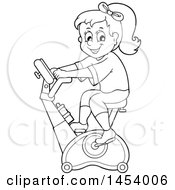 Clipart Of A Black And White Lineart Girl Riding An Upright Spin Bike At The Gym Royalty Free Vector Illustration by visekart