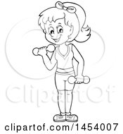 Clipart Of A Black And White Lineart Woman Working Out With Dumbbells Royalty Free Vector Illustration by visekart
