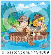 Clipart Of A Happy Scout Boy Rowing A Boat With A Girl And Dog On Boad Royalty Free Vector Illustration