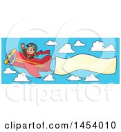 Happy Caucasian Male Aviator Waving And Flying A Plane With A Banner