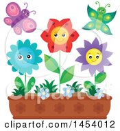 Clipart Of A Planter Box With Happy Flowers And Butterflies Royalty Free Vector Illustration by visekart