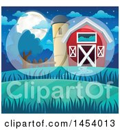 Clipart Of A Red Barn And Silo At Night Royalty Free Vector Illustration