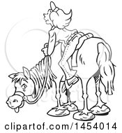 Poster, Art Print Of Cartoon Black And White Lineart Horseback Woman Enjoying A View
