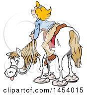 Poster, Art Print Of Cartoon Horseback Caucasian Woman Enjoying A View