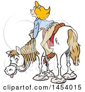 Clipart Of A Cartoon Horseback Caucasian Woman Enjoying A View Royalty Free Vector Illustration by Johnny Sajem