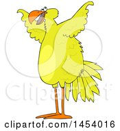 Clipart Of A Cartoon Big Yellow Bird Spreading Its Wings Royalty Free Vector Illustration