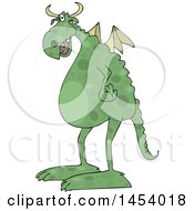 Cartoon Spotted Green Dragon Facing Left