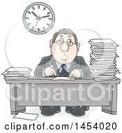 Cartoon White Business Man Working At His Desk With Stacks Of Paperwork