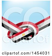 Clipart Of A Knotted Egyptian Ribbon Flag Over Gradient Royalty Free Vector Illustration