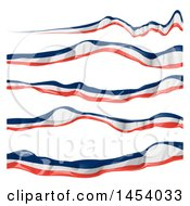 Clipart Of French Ribbon Flag Banner Design Elements Royalty Free Vector Illustration