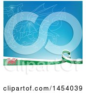 Clipart Of A Wales Ribbon Flag Border Between White And Blue With A Dragon Royalty Free Vector Illustration by Domenico Condello