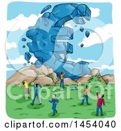 Clipart Of A Crumbling Giant Euro Currency Symbol And People European Crisis Royalty Free Vector Illustration by Domenico Condello