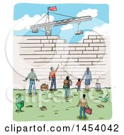 Clipart Of A Sketch Of People At A Border Wall Being Built By A Crane With An American Flag Royalty Free Vector Illustration