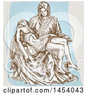 Poster, Art Print Of Brown Sketched Pieta Renaissance Sculpture By Michelangelo Over Blue And Off White