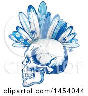Poster, Art Print Of Profiled Punk Surfer Skull With Boards And Palm Trees Forming A Mohawk In Blue Tones