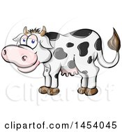 Cartoon Happy Black And White Holstein Dairy Cow