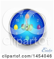 Clipart Of A 3d Easter Egg Wall Clock With Text On Off White Royalty Free Vector Illustration by elaineitalia