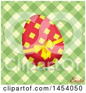 Red And Yellow Easter Egg Over Green And Cream Gingham With Text