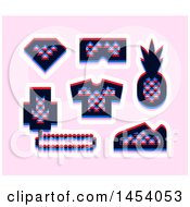 Clipart Of A Set Of Glitch Effect Triangle Patterned Social Network Icons On Pink Royalty Free Vector Illustration
