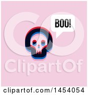 Poster, Art Print Of Glitch Effect Skull Saying Boo Icon On Pink
