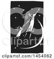 Clipart Of A Black And White Woodcut Woman And Girl Holding Hands And Flying In A Night Sky Royalty Free Vector Illustration