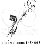Clipart Of A Black And White Woodcut Girl Flying Away With Balloons Royalty Free Vector Illustration