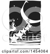 Black And White Woodcut Woman Climbing A Staircase Of Stars Leading To A Crescent Moon Moon