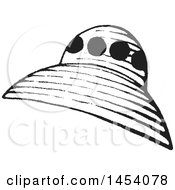 Clipart Of A Black And White Sketched Ufo Royalty Free Vector Illustration