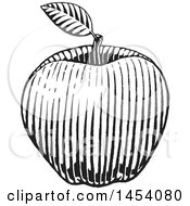 Clipart Of A Black And White Sketched Apple With A Leaf Royalty Free Vector Illustration by cidepix