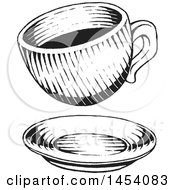 Clipart Of A Black And White Sketched Coffee Cup Over A Saucer Royalty Free Vector Illustration by cidepix