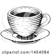 Clipart Of A Black And White Sketched Coffee Cup On A Saucer Royalty Free Vector Illustration by cidepix