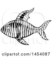 Black And White Sketched Fish