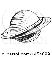 Clipart Of A Black And White Sketched Ringed Planet Royalty Free Vector Illustration by cidepix