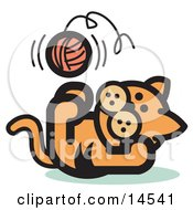 Cute Ginger Kitten Lying On His Back And Throwing A Ball Of Yarn Up In The Air While Playing Clipart Illustration