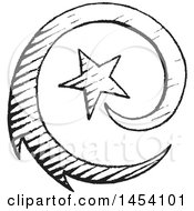 Clipart Of A Black And White Sketched Spiraling Shooting Star Royalty Free Vector Illustration by cidepix