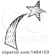 Clipart Of A Black And White Sketched Shooting Star Royalty Free Vector Illustration by cidepix