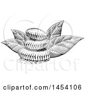 Clipart Of A Black And White Sketched Stack Of Spa Stones And Leaves Royalty Free Vector Illustration